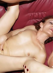 Steph and Julianna are chunky older women enjoying a younger guys cock during a cam show